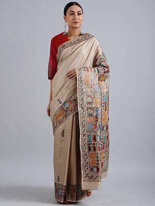 Beige Madhubani Hand Painted Bhagalpuri Tussar Silk Saree