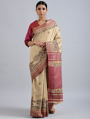 Beige-Red Madhubani Hand Painted Bhagalpuri Tussar Silk Saree