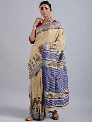 Beige-Purple Madhubani Hand Painted Bhagalpuri Tussar Silk Saree