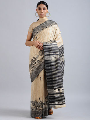 Ivory-Black Madhubani Hand Painted Bhagalpuri Tussar Silk Saree