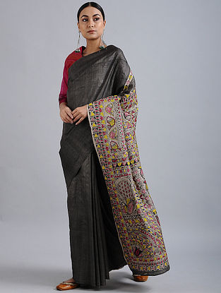 Black-Red Madhubani Hand Painted Bhagalpuri Tussar Silk Saree