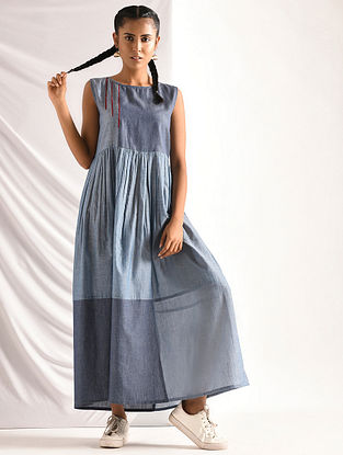Blue Chambray Dress with Gathers
