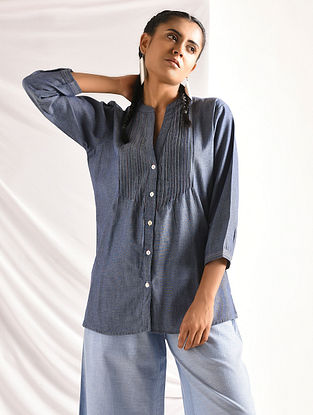 Blue Chambray Shirt with Pintucks