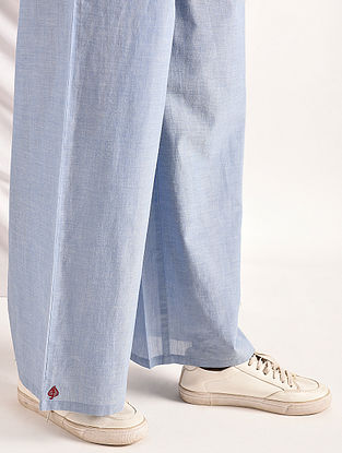 Blue Elasticated-waist Chambray Pants