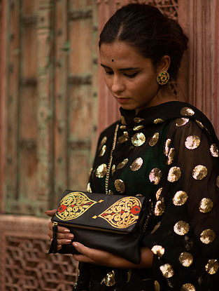 Black Yellow Handpainted Genuine Leather Clutch