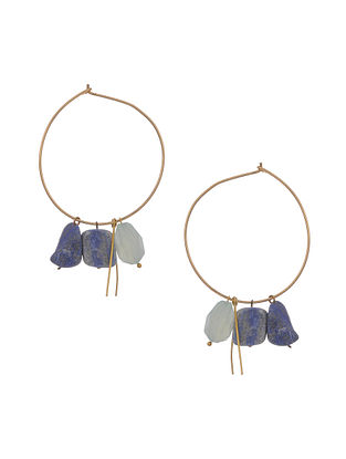 Green Gold Tone Handcrafted Earrings with Lapis Stone