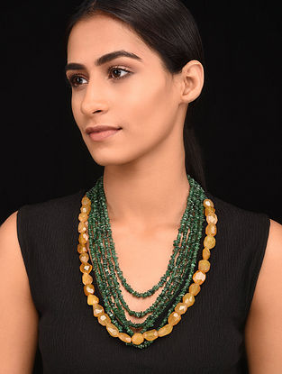 Yellow Green Gold Tone Handcrafted Necklace