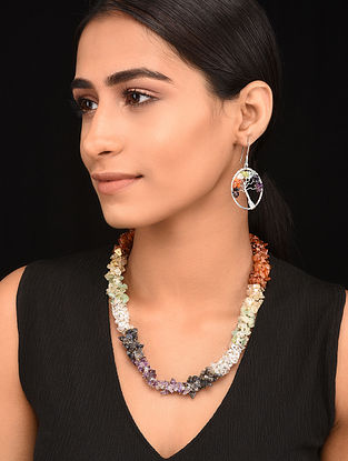 Multicolored Gold Tone Handcrafted Necklace with Earrings (Set of 2)