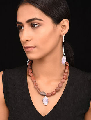 Brown Pink Silver Tone Handcrafted Necklace with Earrings (Set of 2)