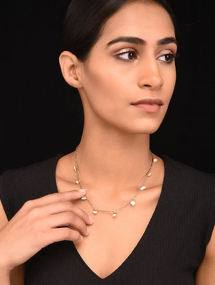 White Gold Tone Handcrafted Necklace