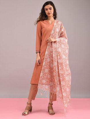 Pink Block-Printed Cotton Dupatta