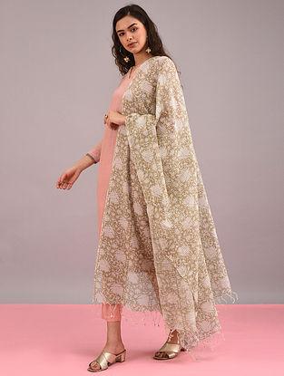 Beige Block-Printed Cotton Dupatta