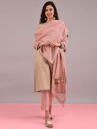 Pink Cotton Dupatta with Tassels