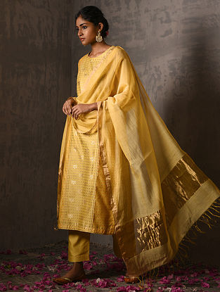 GOWRI PARVATI BAI - Yellow Silk Cotton Dupatta with Zari