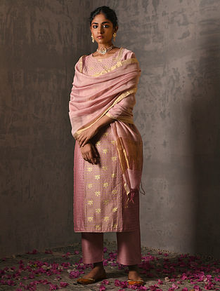 TARABAI - Pink Silk Cotton Dupatta with Zari