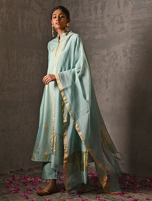 AVANTI BAI - Green Silk Cotton Dupatta with Zari