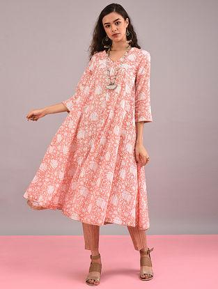 KUMUD - Pink Block-Printed Cotton Dobby Flared Kurta