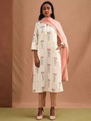 GULMOHAR - White-Pink Block-Printed Cotton Dobby Kurta