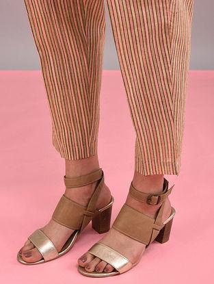 Pink, Beige Block-Printed Elasticated Waist Cotton Pants