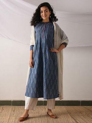 TENGANAN - Blue-Ivory Ikat Cotton Kurta with Top stitch