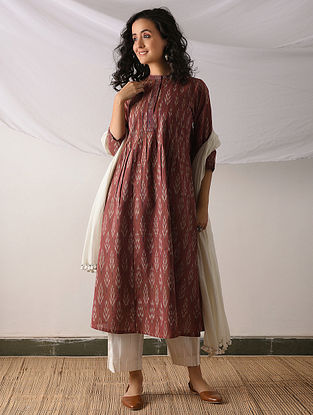 POCHAMPALLY - Red-Ivory Ikat Cotton Kurta with Top stitch