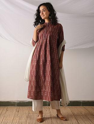 POCHAMPALLY - Red-Ivory Ikat Cotton Kurta with Top stitch