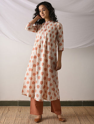 PUTTAPAKA - Ivory-Orange Ikat Cotton Kurta with Top stitch
