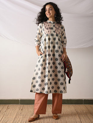 OSHIMA - Ivory-Blue Ikat Cotton Kurta with Top stitch