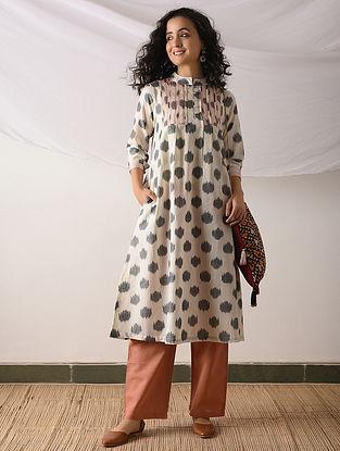OSHIMA - Ivory-Blue Ikat Cotton Kurta with Top stitch