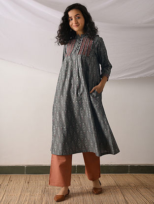 YAZD - Grey Ikat Cotton Kurta with Top stitch