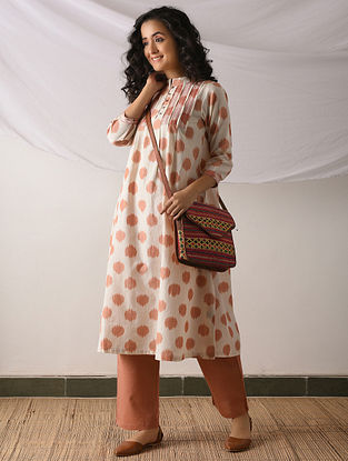 PATAN - Ivory-Orange Ikat Cotton Kurta with Top stitch