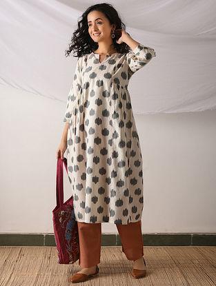 SAMBALPUR - Ivory-Black Ikat Cotton Kurta with Top stitch