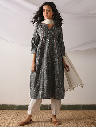 BALI - Grey Ikat Cotton Kurta with Top stitch