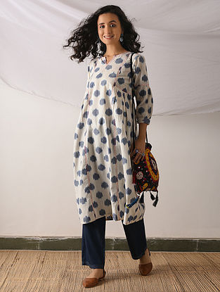 HOTAN - Ivory-Blue Ikat Cotton Kurta with Top stitch