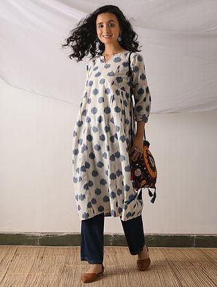 HOTAN - Ivory-Blue Ikat Cotton Kurta with Top stitch