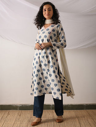 KASHGAR - Ivory-Blue Ikat Cotton Kurta with Top stitch