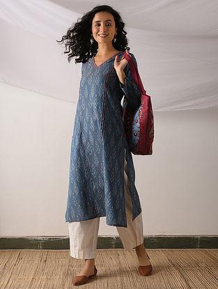 JAVA - Blue-Ivory Ikat Cotton Kurta with Top stitch