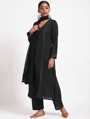 Black Handloom Cotton Kurta with Multicolored Top-stitch