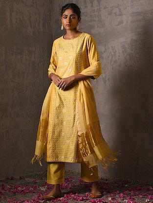 JIJABAI - Yellow Foil Printed Silk Cotton Kurta with Hand Work
