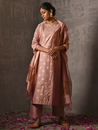PADMINI - Pink Foil Printed Silk Cotton Kurta with Hand Work