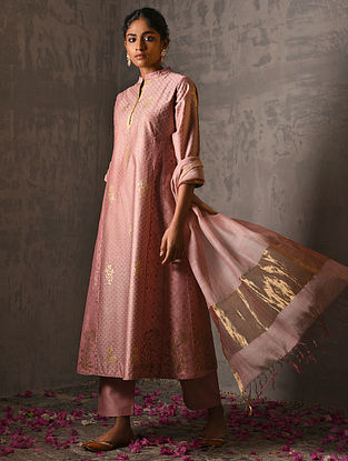 CHAND BIBI - Pink Foil Printed Silk Cotton Kurta with Hand Work