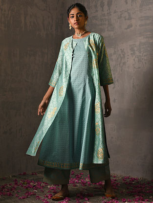 SAMYUKTA - Green Foil Printed Silk Cotton Kurta with Slip (Set of 2)