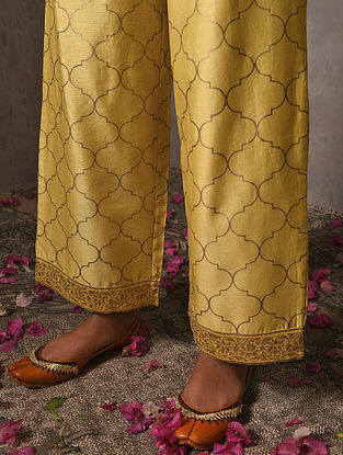 NILOUFER - Yellow Elasticated Waist Khadi Printed Silk Cotton Palazzo