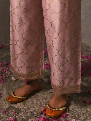 VIJAYA DEVI - Pink Elasticated Waist Khadi Printed Silk Cotton Palazzo
