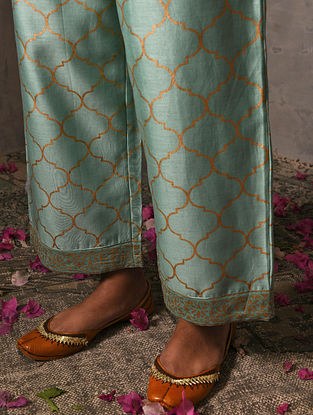 SOPHIA DULEEP SINGH - Green Elasticated Waist Khadi Printed Silk Cotton Palazzo