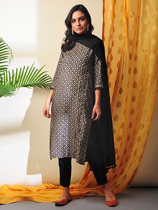 TIA - Black Printed Handloom Silk Cotton Kurta with Gota