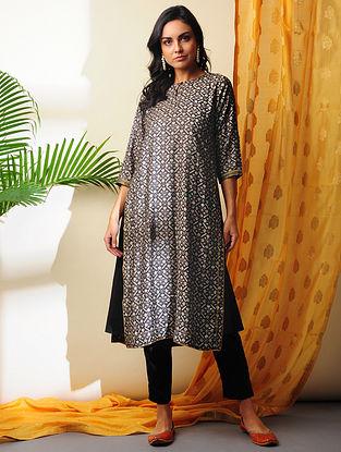 SOHA -Black Printed Handloom Silk Cotton Kurta with Gota
