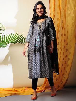 AMYRA - Black Printed Handloom Silk Cotton Kurta with Gota