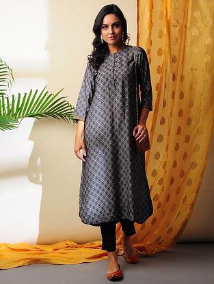 URVI - Black Printed Handloom Silk Cotton Kurta with Gota