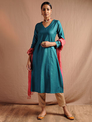 Blue Pintuck Tussar Cotton Kurta with Lace